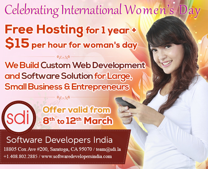 Women's Day Offers on Custom Web Development and Software Solution for Large, Small Business & Entrepreneurs